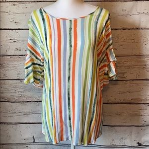 Lime & Chili Multicolor ruffle sleeve top M